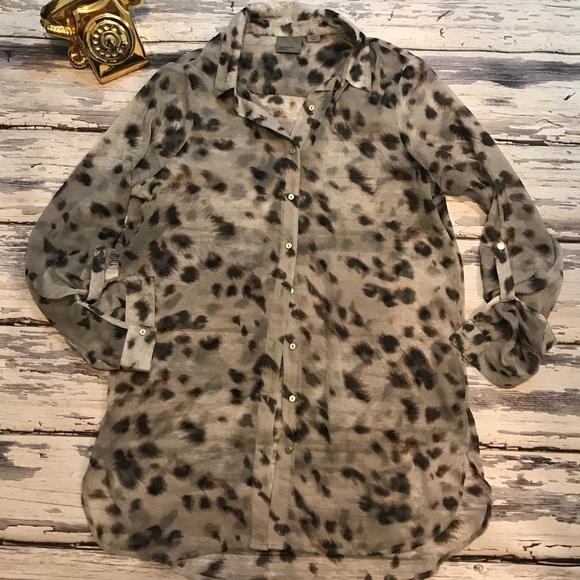 Vero Moda leopard print button down top